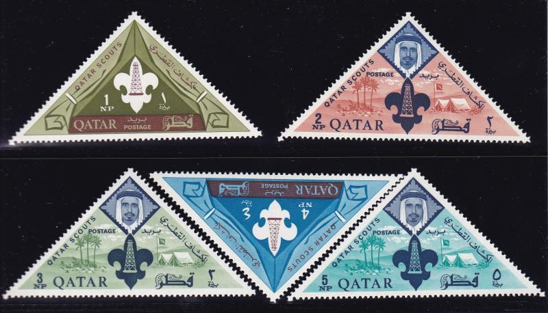 Qatar 1965 Boy Scouts Complete (8) Post Office Fresh (**) Sheik Ahmad & Emblem