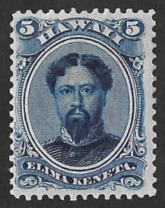 Hawaii 32 5 cents 1864 Kamehameha V, Blue, Stamp Unused OG Hinged VF