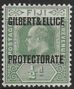 Gilbdert & Ellice 1  1911  1/2 d mint fine ( NG )