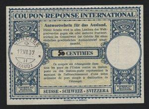 INTERNATIONAL REPLY COUPON SWISS 1937 - BARNEYS