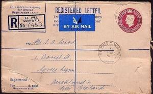 GB 1951 GVI 6½d registered envelope used airmail to New Zealand............34299