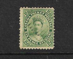 CANADA 1859 12 1/2c YELLOW GREEN  FU  Sc 18 Sg 40