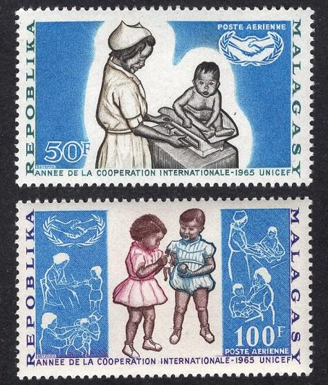 Malagasy Republic   #C81-C82  MNH  1965  ICY  nurse weighing infant