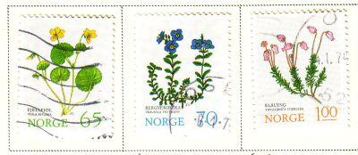 Norway Sc 626-8 1973 flower stamps used