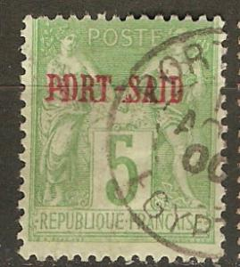France Off Egypt Pt Said 5 Mi 5 Used Fine 1899 SCV $5.00