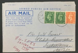 1944 FPO England Armed Forces Air letter Cover To Saskatoon Canada