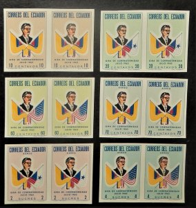 Ecuador 691-93, C409-11. 1963 President Arosemena, imperforate pairs, NH