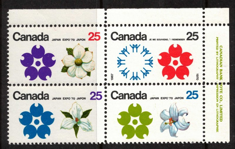 Canada - Expo '70 SC508-511 Plate Block Mint NH