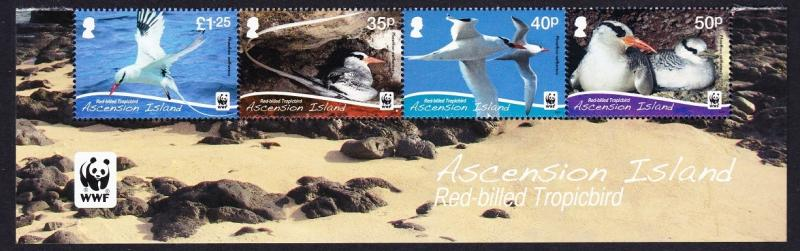 Ascension WWF Red-billed Tropicbird 4v Strip with WWF Logo SG#1155-58