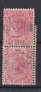 V252) Victoria 1901 QV 1d Rose vertical pair, the lower and half of the upper