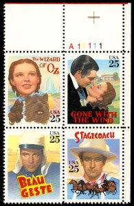 US #2445- 2448 CLASSIC FILMS, Plate Block,  VF/XF mint never hinged,   SUPER ...