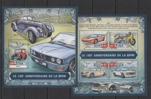ST1823 2016 NIGER TRANSPORT CARS 100TH ANNIVERSARY OF BMW KB+BL MNH