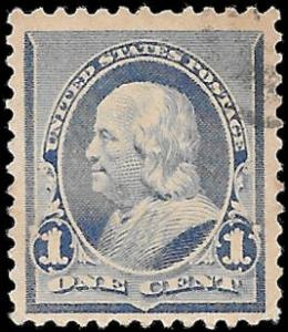 1890 US SC # 219 USED F VF NH ng LIGHT FANCY FACE FREE CANCEL- VERY SOUND