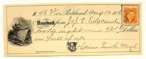 USA, Portland Maine Receipt with R15c, vignette of corn, bull