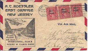 USA - 1929 - Flight cover - 1st Flight Maimi to Canal Zone