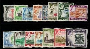 RHODESIA & NYASALAND SG18/31 1959/62 DEFINITIVE SET MTD MINT