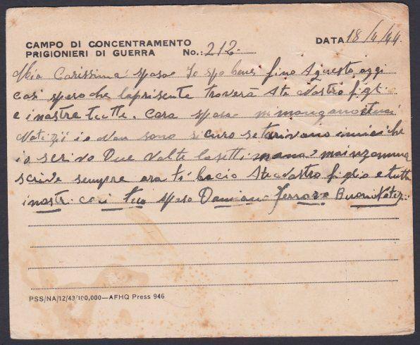 ALGERIA 1944 British POW card from Italian Prisoner to Italy...............53669