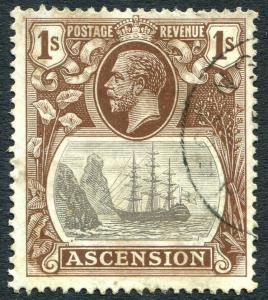 ASCENSION-1924-33 1/- Grey-Black & Brown Sg 18  GOOD USED V31498
