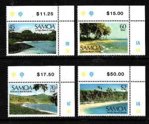 D3-Samoa-Scott#697-700-Unused NH set-Landscapes-1987-