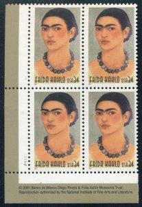 US 2001 FRIEDA KAHLO; Plate Block of 4, Sc 3509; 34 Cent Values
