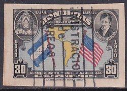 Honduras 1940 Sc C100c J C de Valle Flags Map Americas Airmail IMP Stamp Used
