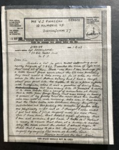 1942 Middle East Forces MEF Airgraph Sheet Cover To Birmingham England