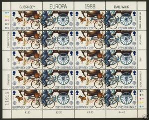 Guernsey 384a Sheet MNH Horse, Bicycle, Europa