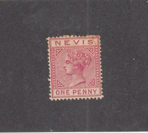 NEVIS (MK1009) # 23 OG HR 1d  QUEEN VICTORIA /ROSE CARMINE CAT VALUE $15
