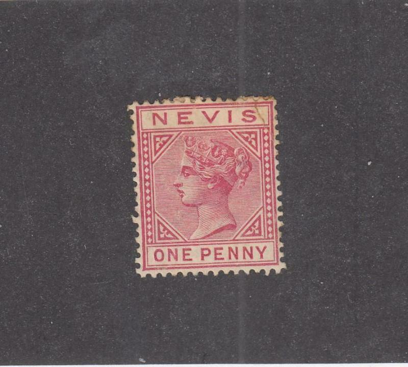 NEVIS (MK1009) # 23 OG HR 1d  QUEEN VICTORIA /ROSE CARMINE CAT VALUE $15