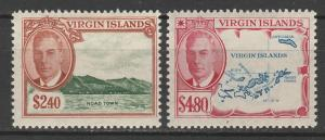 BRITISH VIRGIN ISLANDS 1952 KGVI PICTORIAL $2.40 & $4.80