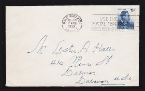 Australia Scott #239 ⭐ King George VI⭐ 7½d Cover to USA Slogan Cancel 1953