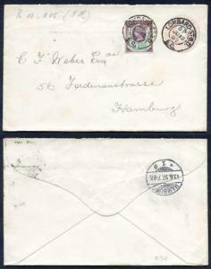 ES11 QV 1d Pink Envelope size 91mm x 144mm Used Uprated