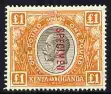 Kenya, Uganda & Tanganyika 1922-27 KG5 £1 black & orange ...