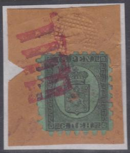 FINLAND 1866-74 Sc 7 ON PIECE PUNCHED & RED MUTE PTMK FOR TELEGRAPH USE CV$2850