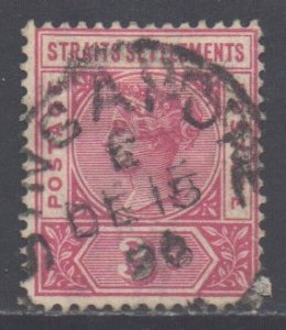 Malaya Straits Setts Scott 84 - SG96, 1892 Crown CA 3c used