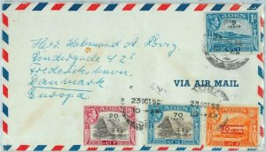 90555 -  ADEN - POSTAL HISTORY -   AIRMAIL COVER  to DENMARK ! 1955