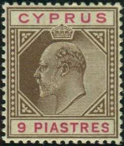 CYPRUS-1904 9pi Brown & Carmine. A mounted mint example Sg 56