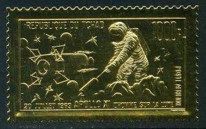 Chad C60,MNH.Michel 281. Gold foil,1969.Apollo 11,Astronaut on Moon.