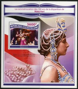 CENTRAL AFRICA 2017 100th MEMORIAL ANNIVERSARY OF MATA HARI WW I S/S MINT NH