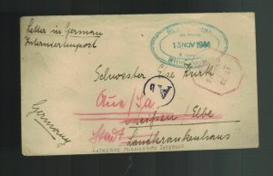1944 Southern Rhodesia Interment Camp Cover to Germany Luthern Missionary Intern