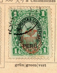 Peru 1881-83 Early Issue Fine Used 1c. Optd NW-11820