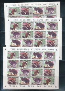 Papua New Guinea PNG 2003 Kangaroos WWF MNH  SHEET x 3(PAP84)