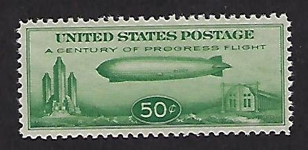 Catalog # C 18 Single Stamp Mini Zeppelin 50 cent Green Color MNH F/VF