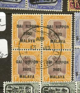 MALAYA JAPANESE OCCUPATION TRENGGANU (P1912B) 20C SG129 BL OF 4  VFU