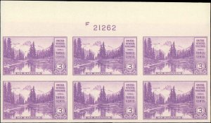 United States #758, Complete Set, Plate Block of 6, 1935, Mint No Gum As Issued