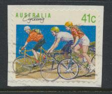 SG 1259 SC# 1185  Used Peel and Stick Cycling - self adhesive on piece