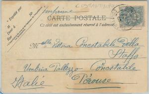 74719 - ALGIERS - POSTAL HISTORY - France 5 cnts on POSTCARD to ITALY  1905