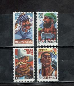 3083-86 Folk Heroes Set Of 4 Mint/nh Free Shipping (A-89)