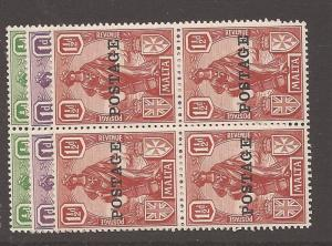 Malta 1926 SG 144-6 block of 4 MNH/MOG (4car)