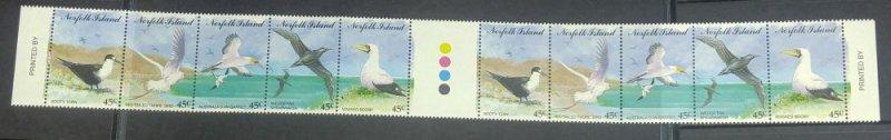 Norfolk Islands Sc 565 1994 birds gutter strip of 10 mint NH